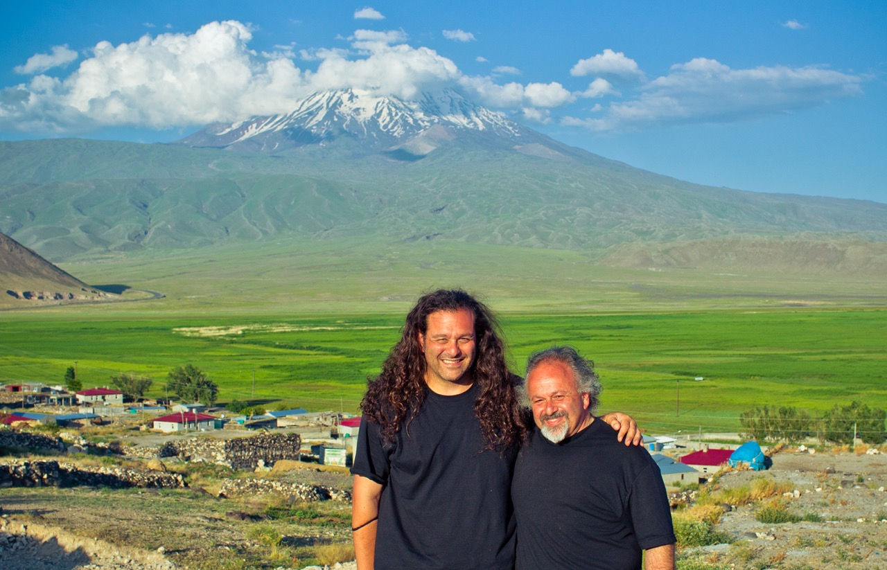 At the Eastern side of the sacred mountain, artist Gregory Beylerian and Fr. Vazken Movsesian stand in preparation of this installation.