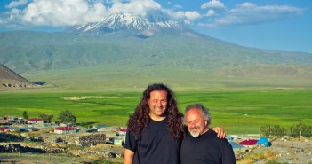 Fr. Vazken Movsesian and Gregory Beylerian at the Western side of Mt. Ararat.